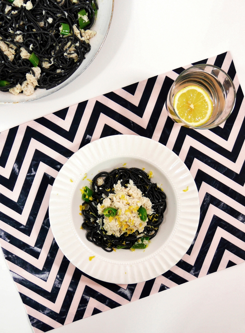 crab chili squid ink pasta