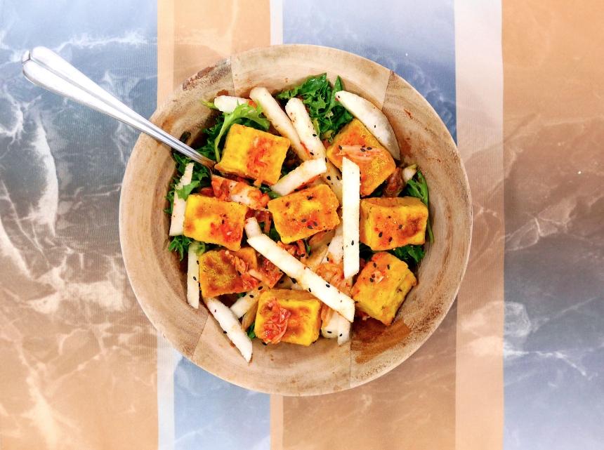 Superfood tofu kimchi pear salad